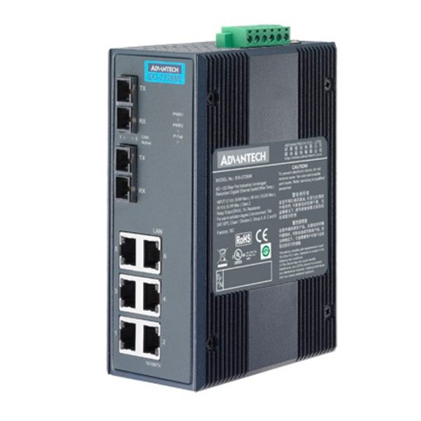 EKI-2728MI-BE (6GE+2G SC Multi-mode Unmanaged Ethernet Switch, -40 to 75℃)
